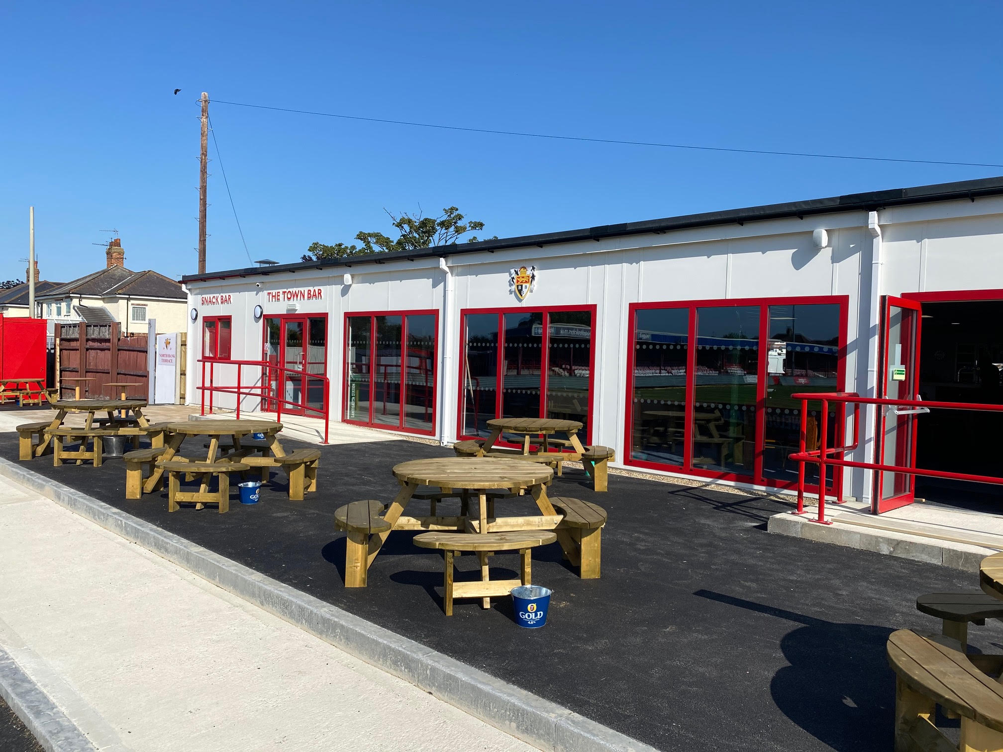 The new Bridlington Town clubhouse, which was completed last month by new principal club and shirt sponsor, Integra Buildings, working in partnership with lead contractor, PBS Construction (North East) Ltd.