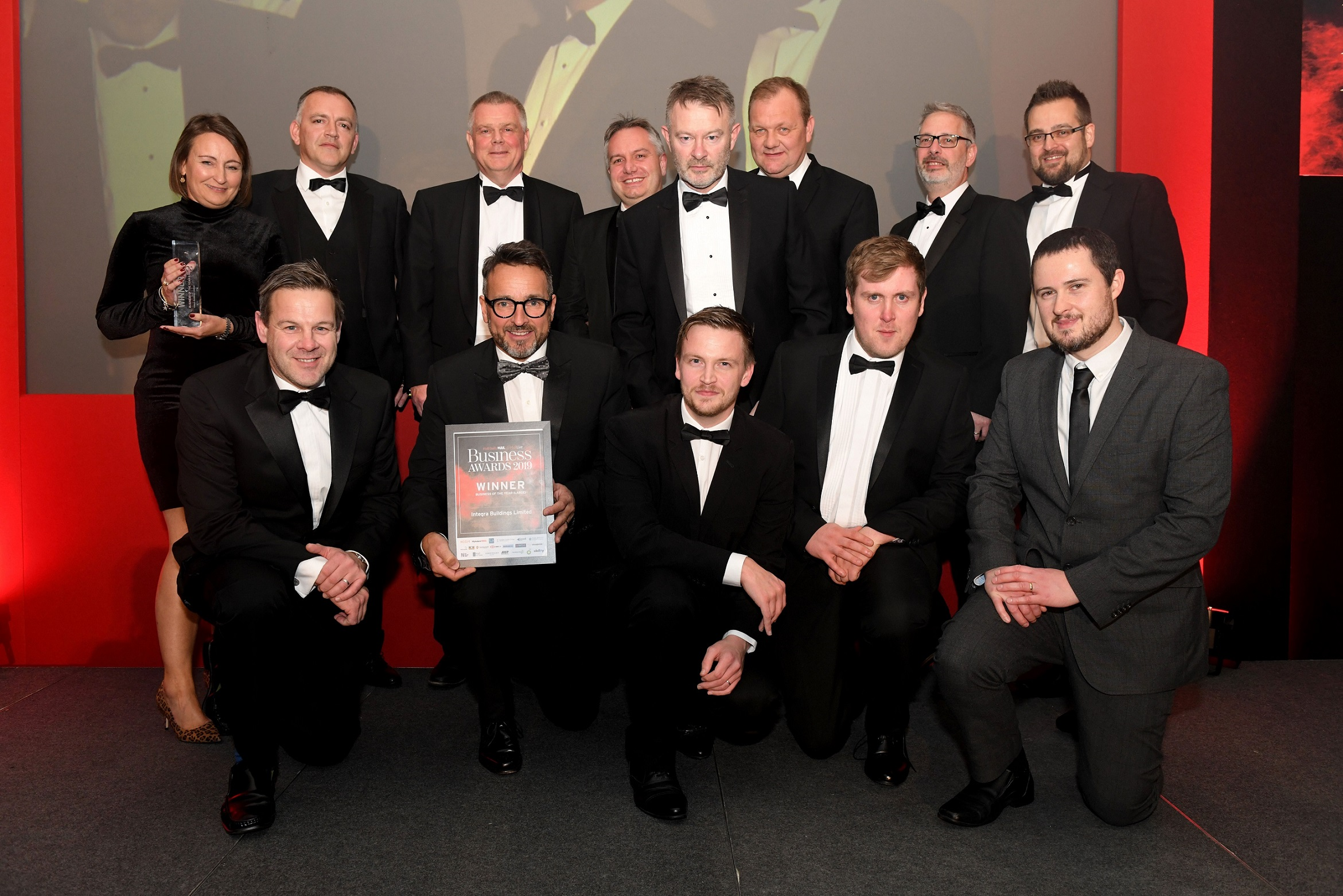 Managing Director Gary Parker, front second left, and the Integra team after being named Hull Daily Mail Business Awards Large Business of the Year.