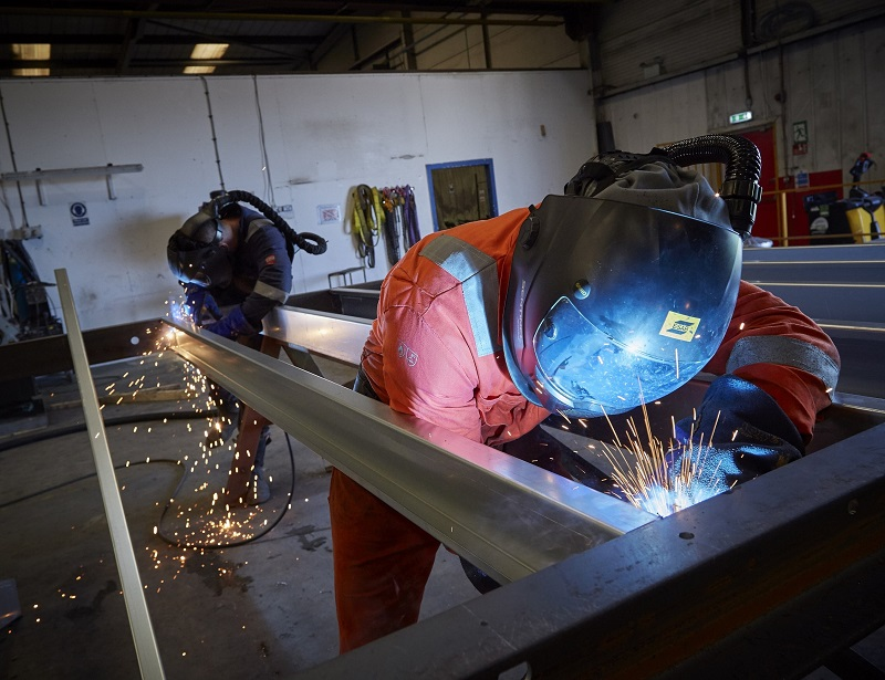 Welders at work in one of Integra Buildings' production facilities at its site in Paull, East Yorkshire. The company has been included in the Ward Hadaway Yorkshire Fastest 50 rankings of the region's fastest-growing businesses.