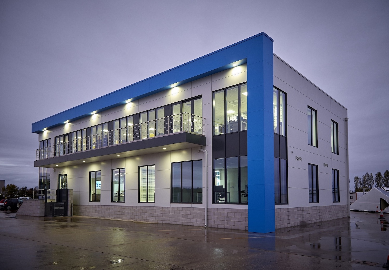 Integra Buildings' striking new offices at the company's expanded site at Paull, East Yorkshire. The modular offices were built just yards away in Integra's own factory units.