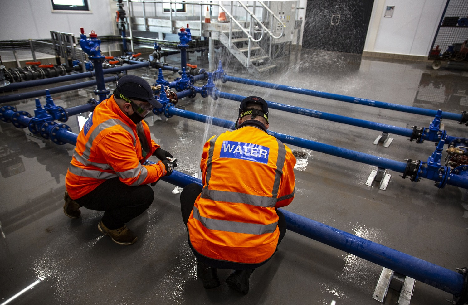 Operational training areas are designed to replicate the challenges faced by Severn Trent workers, such as working with pressurised pipes.