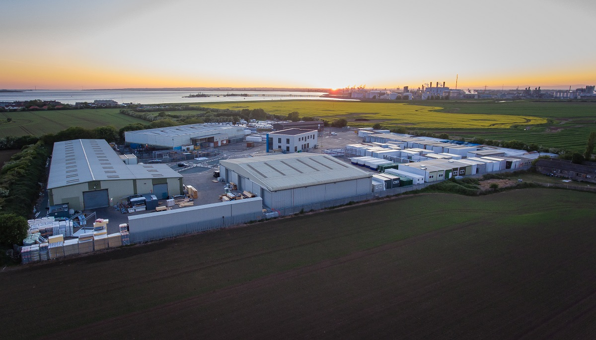 Integra Buildings' site at Paull, east of Hull, with the land earmarked for expansion in the foreground. (Drone photo by Craig Marriott)